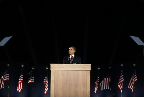 President-Elect Barack Obama in CHicago's Grant Park Tuesday evening
